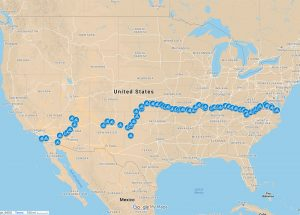 Route of stops along bike trip across the USA