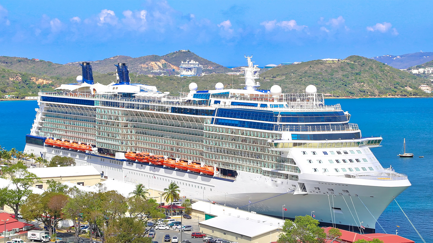 A giant cruise ship docked in port at St. Thomas, US Virgin Islands