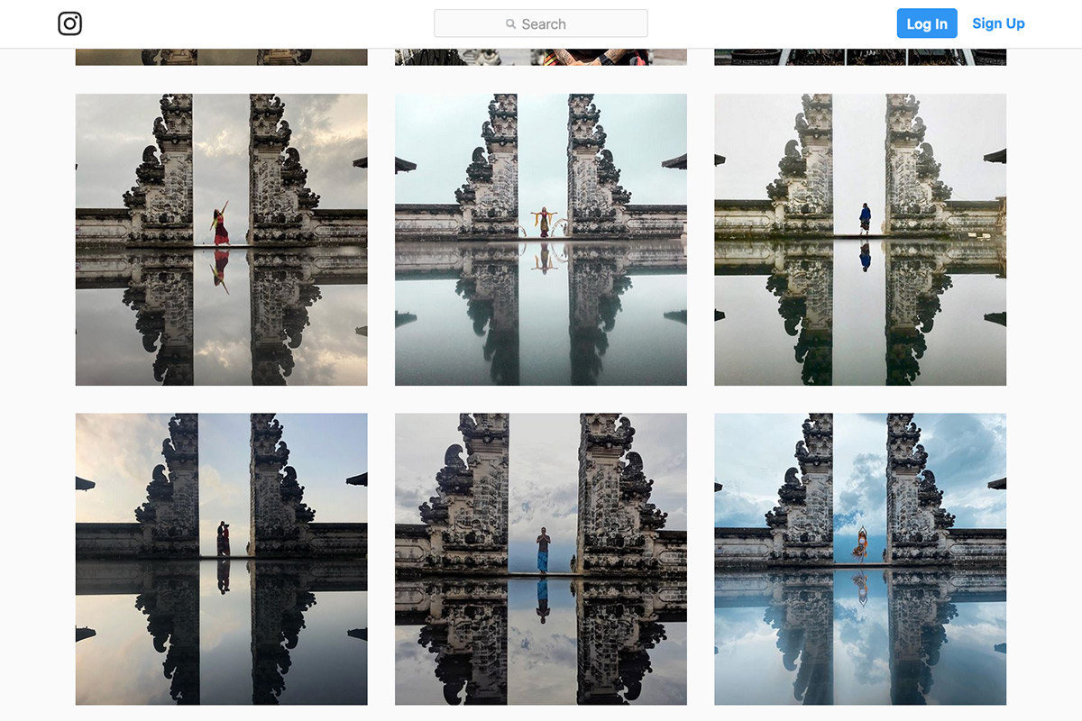 "Manipulated photos of tourists exploring the ""Gates of Heaven"" in Bali, Indonesia"