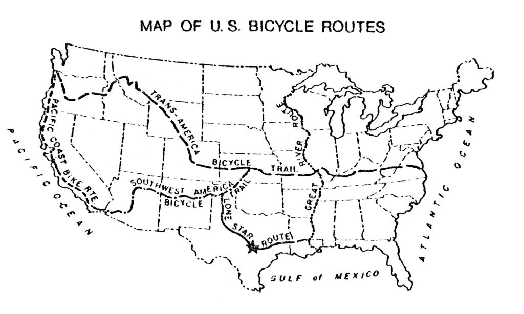 Map of the Bikecentennial Trail and Southwest America Bike Trail