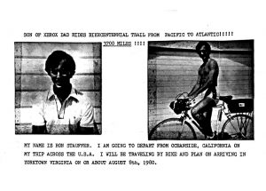 Ron Stauffer letter of intent to ride across the USA on a bicycle